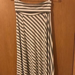 Grey and white striped Gap maxi skirt